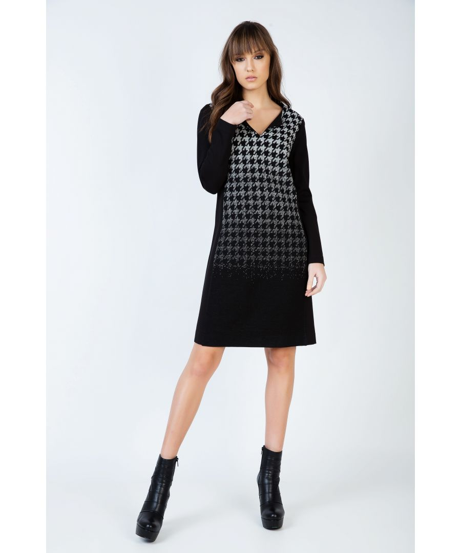 Image for Houndstooth Detail A Line Dress with V Neck and Long Sleeves by Conquista Fashion