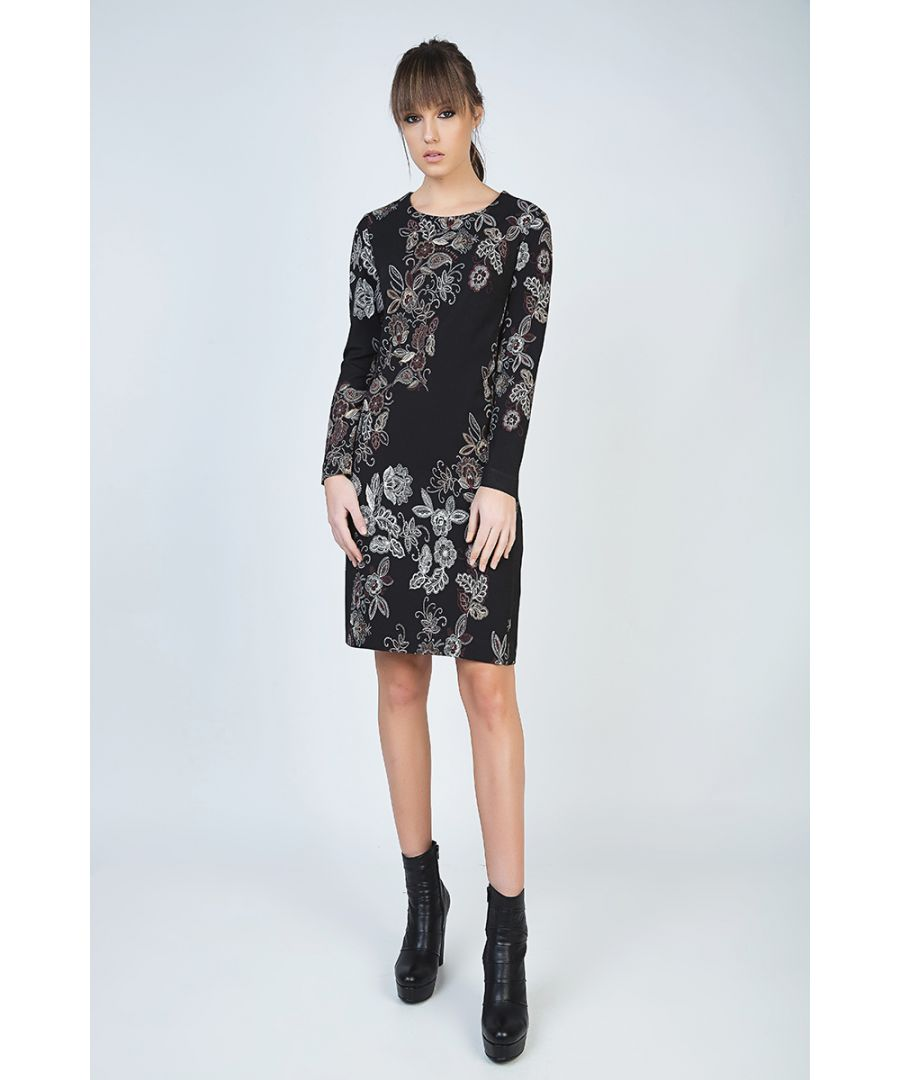 Image for Print Long Sleeve Straight Dress