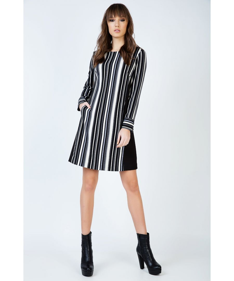 Image for Striped A Line Dress with Pockets