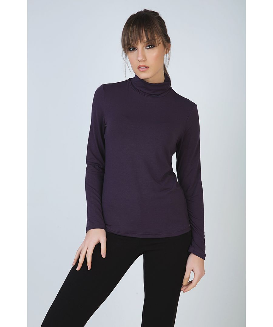 Image for Purple Long Sleeve Polo Neck Jumper