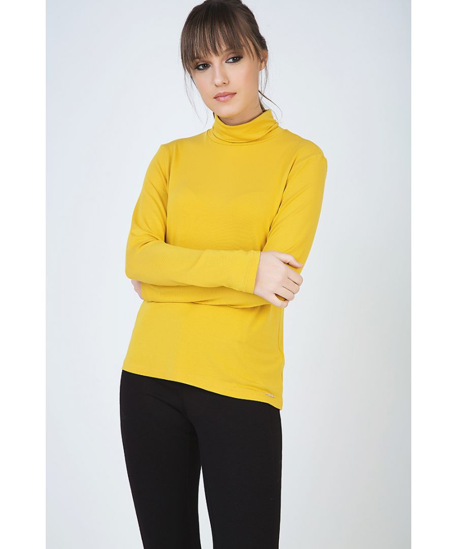 Image for Yellow Long Sleeve Polo Neck Jumper