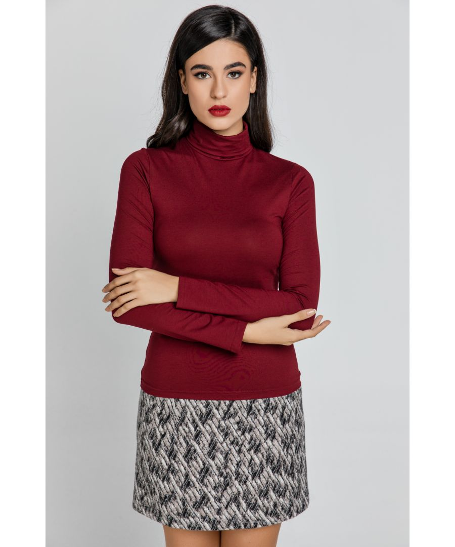 Image for Burgundy Turtle Neck Top By Conquista