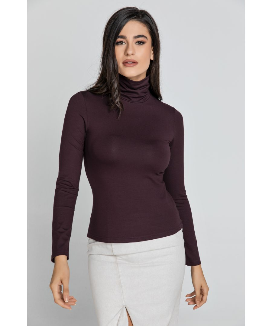 Image for Maroon Turtle Neck Top By Conquista