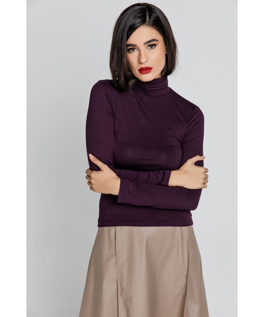 Image for Purple Turtle Neck Top By Conquista