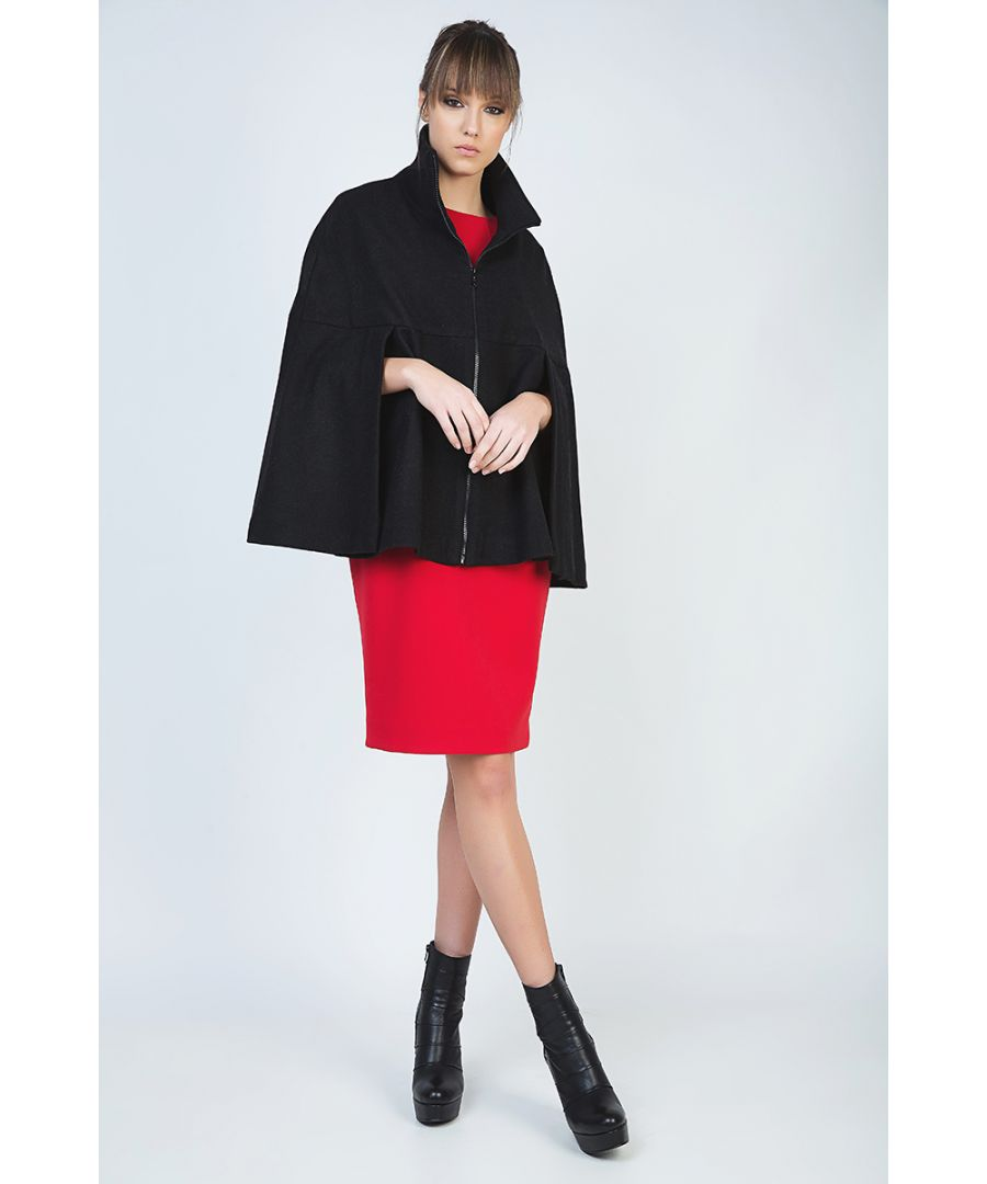 Image for Black Winter Cape in Woven Fabric