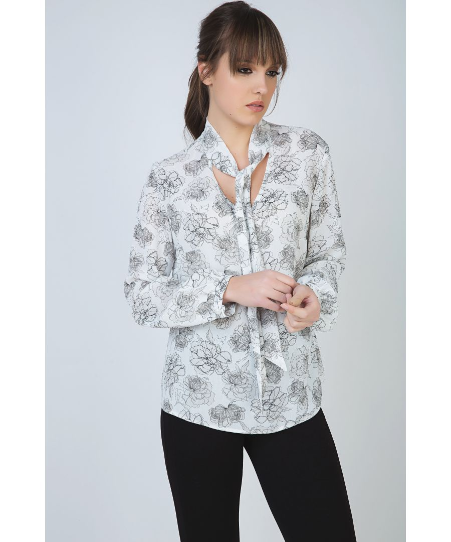 Image for Long Sleeve Floral Top with Neck Tie Detail and Button Cuffs by Conquista Fashion