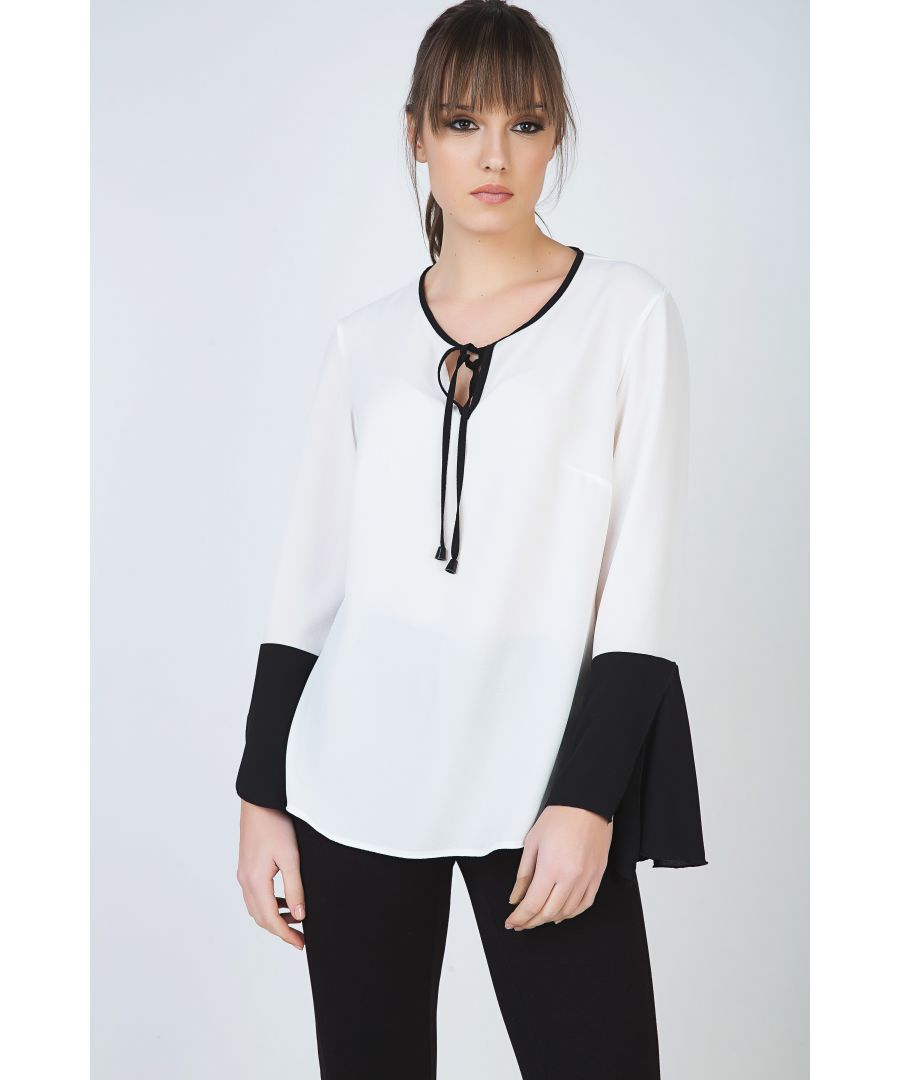 Image for Contrast Detail Ecru Top with Long Bell Sleeves and Keyhole Tie Fastening by Conquista Fashion