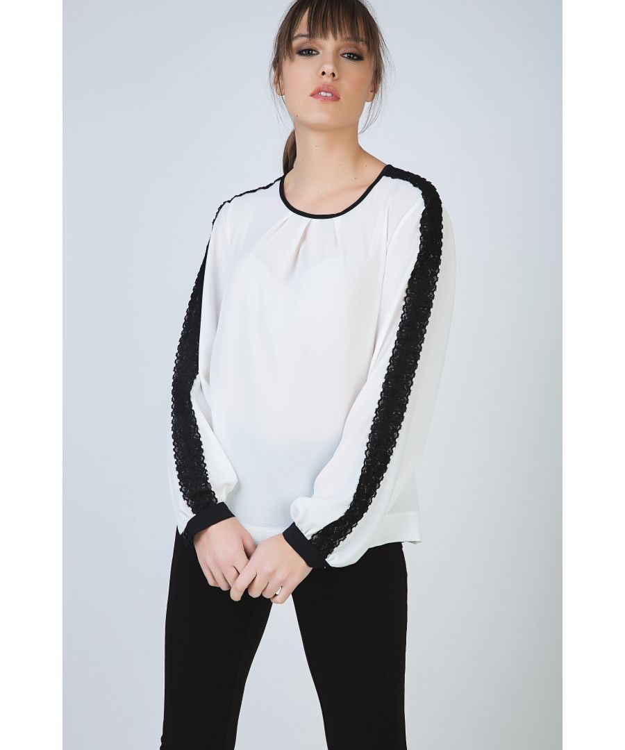 Image for Contrast Ecru Top with Long Sleeves with Lace Detail and Button Fastening at the Nape  by Conquista Fashion