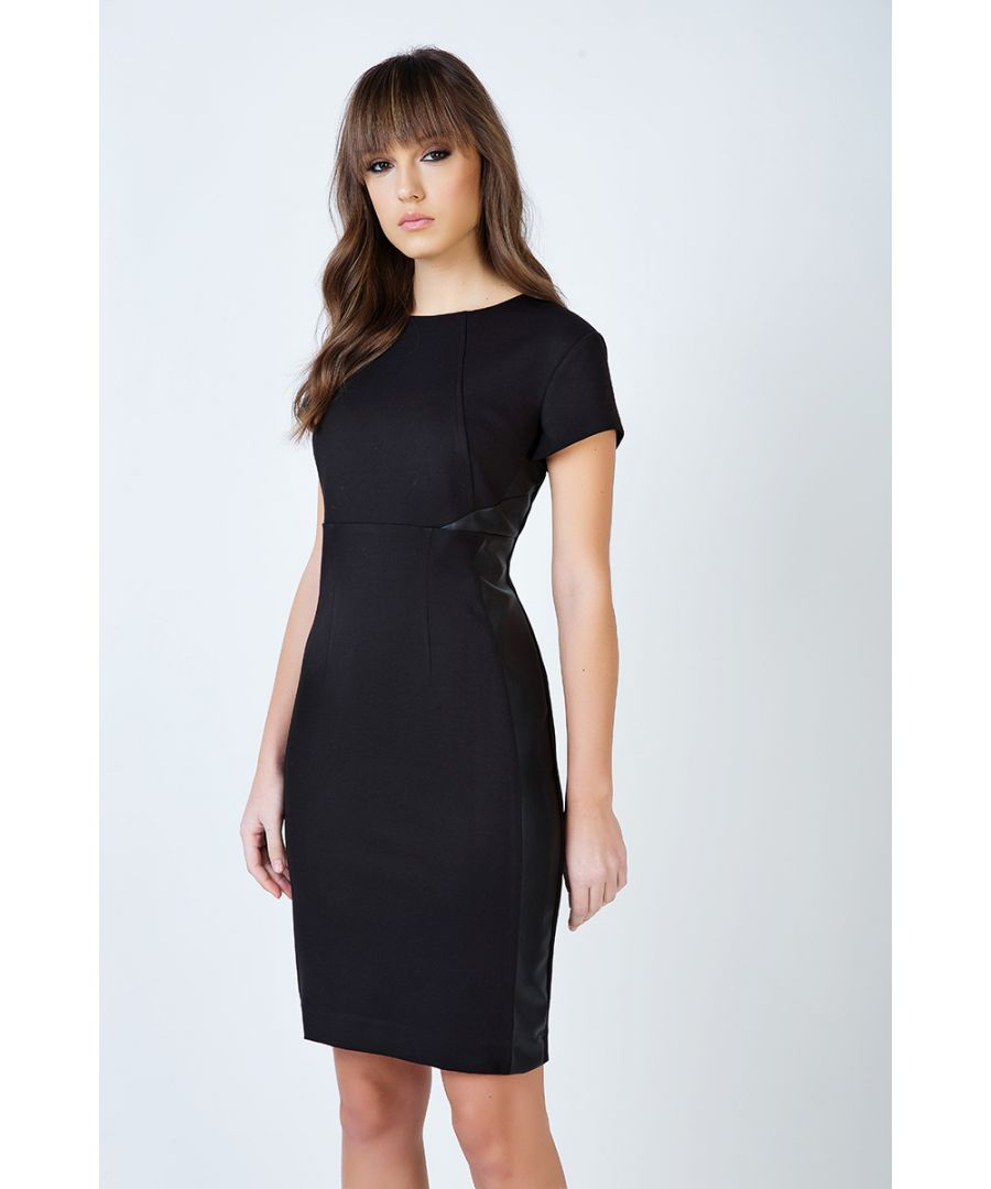 Image for Short Sleeve Black Dress in Crepe Fabric