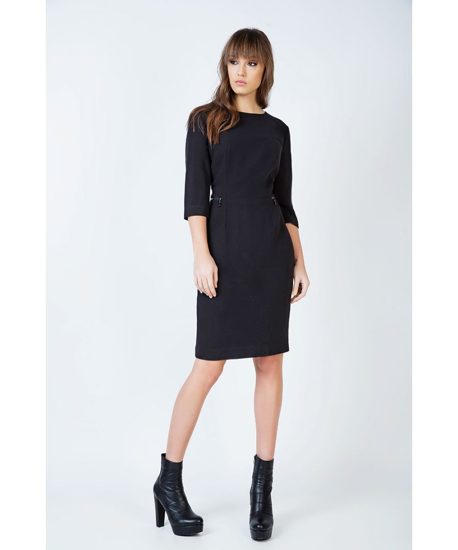 Image for Fitted Black Pocket Detail Dress in Crepe Fabric