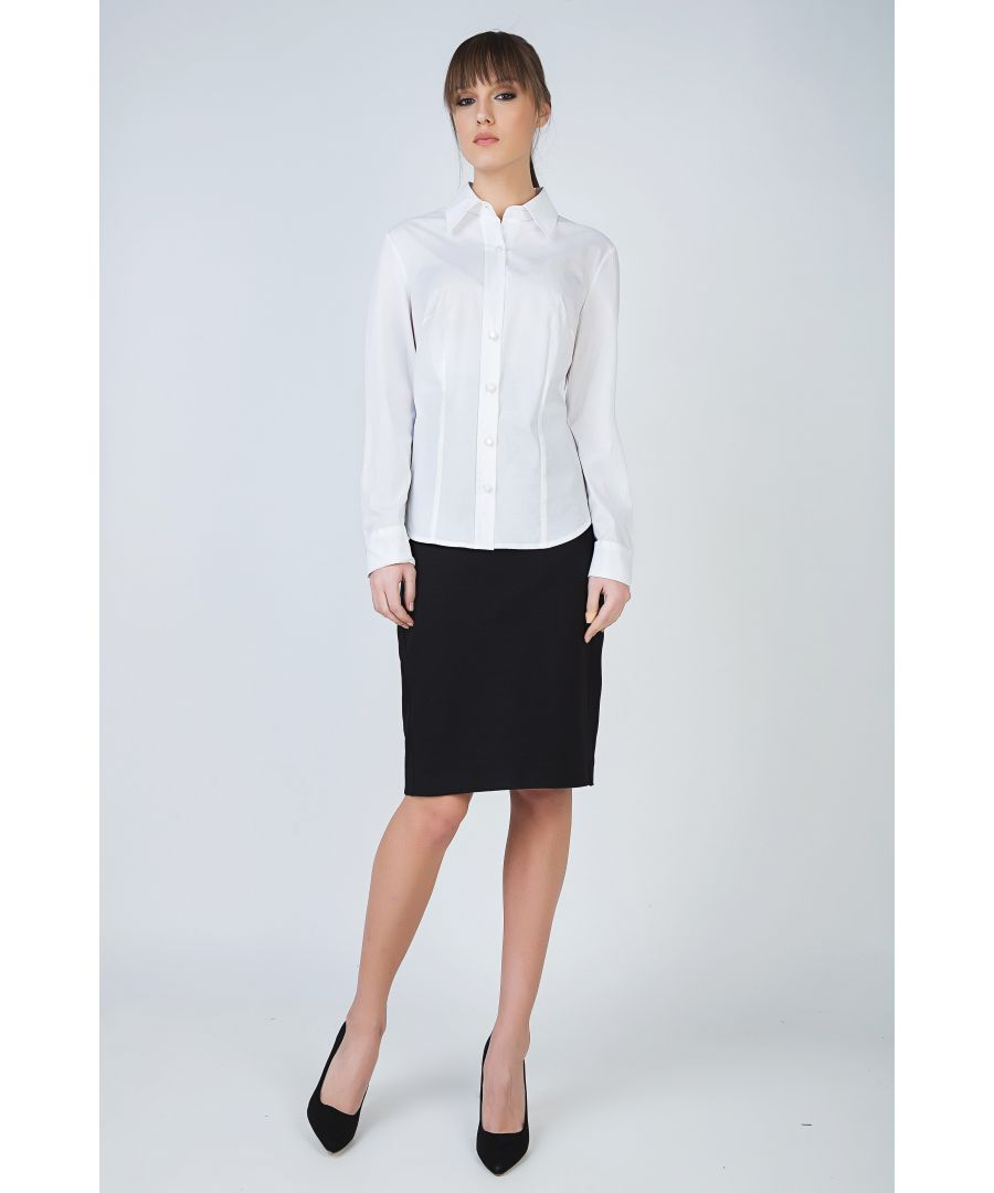 Image for White Tailored Button Shirt with Double Button Detail at the Cuffs by Conquista Fashion