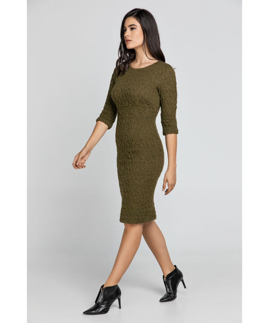 Image for Khaki Jacquard Dress By Conquista Fashion