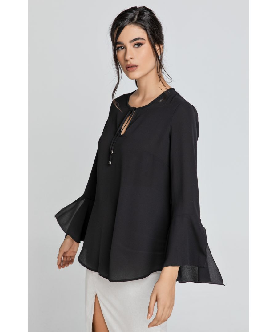 Image for Black Flounce Sleeve Top by Conquista