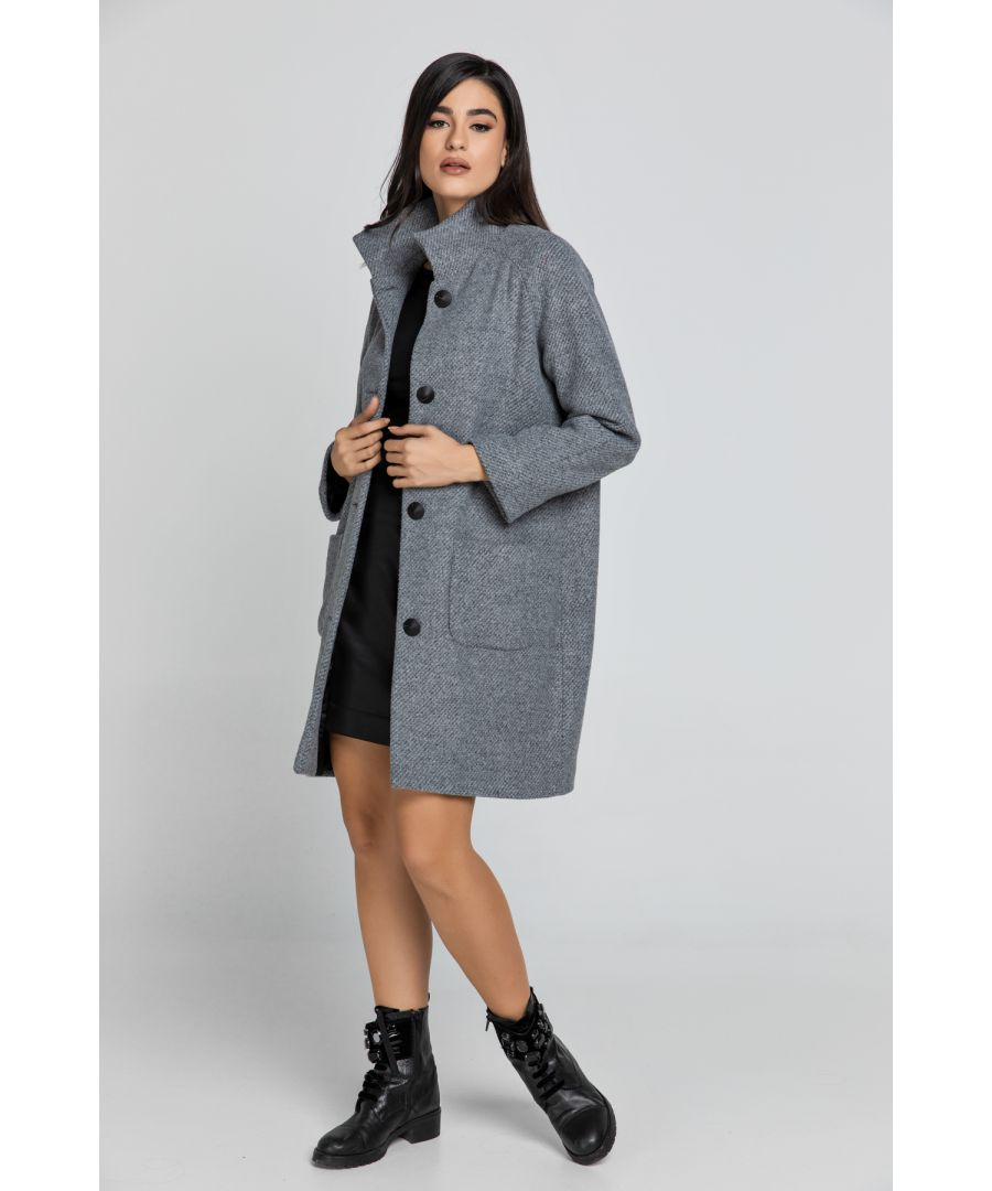 Image for Wool Blend Grey Coat by Conquista Fashion