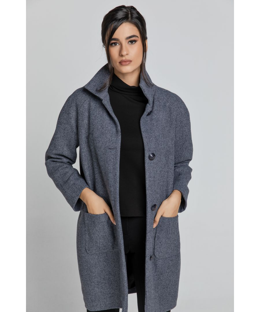 Image for Wool Blend Grey Mélange Coat by Conquista Fashion