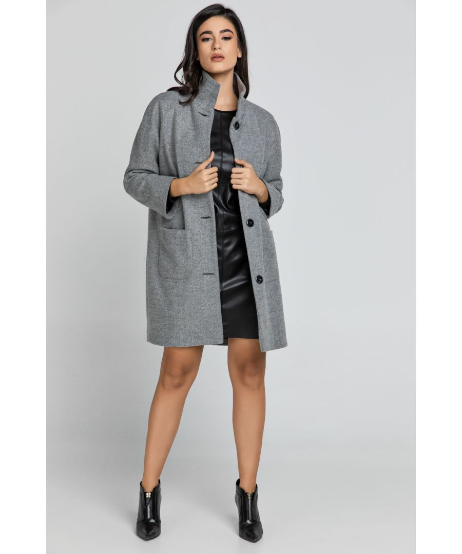 Image for Grey Coat with Upright Collar by Conquista Fashion