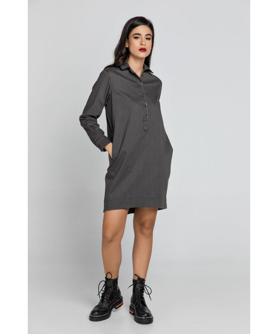 Image for Dark Grey Tencel Shirt Dress by Conquista
