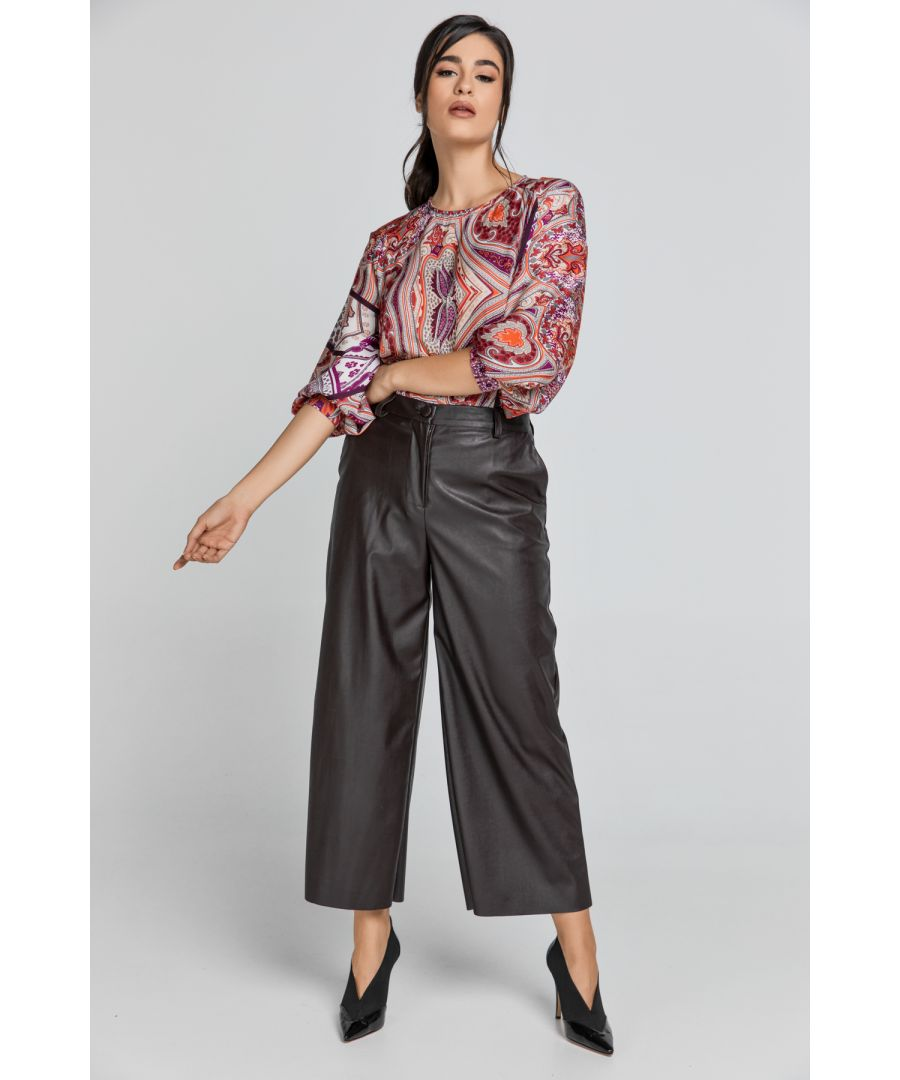 Image for Dark Brown Faux Leather Culottes by Conquista Fashion