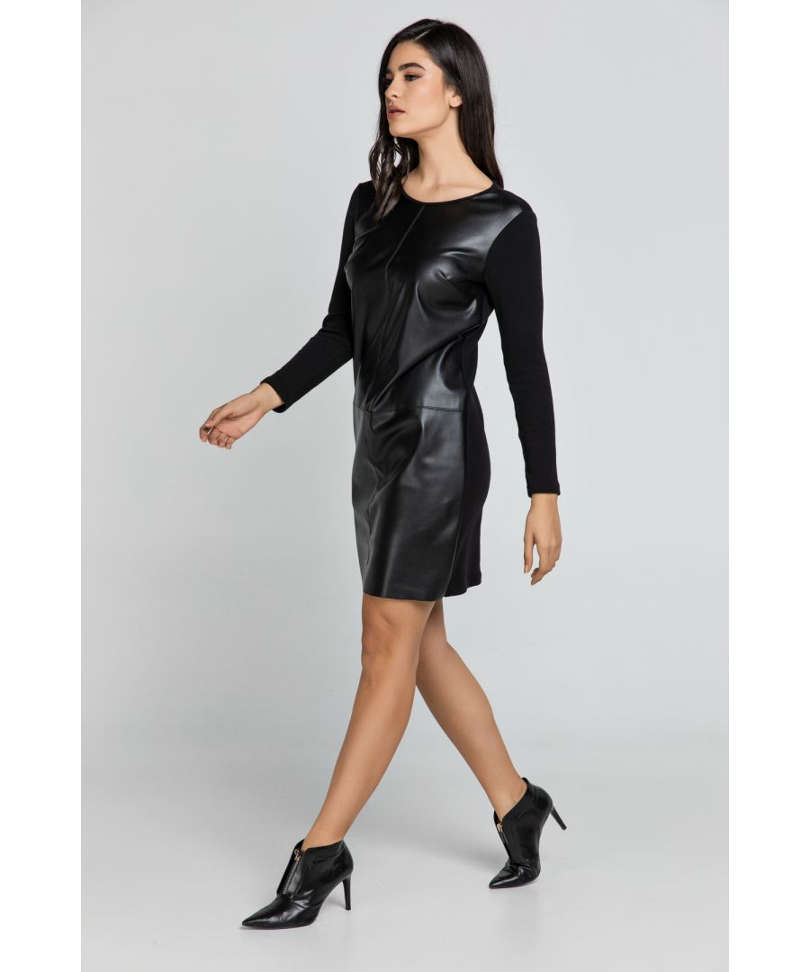 Image for Black Dress with Faux Leather Front by Conquista Fashion