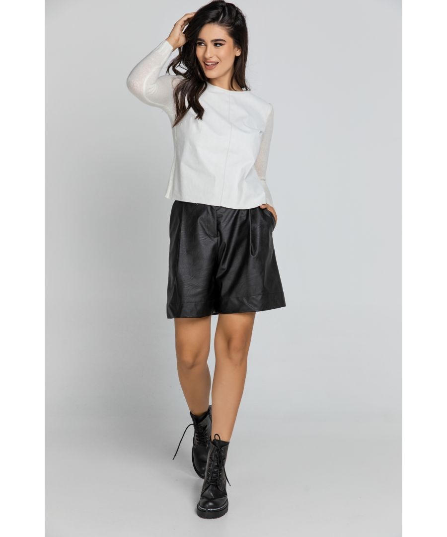 Image for Black Faux Leather Bermuda Shorts by Conquista Fashion