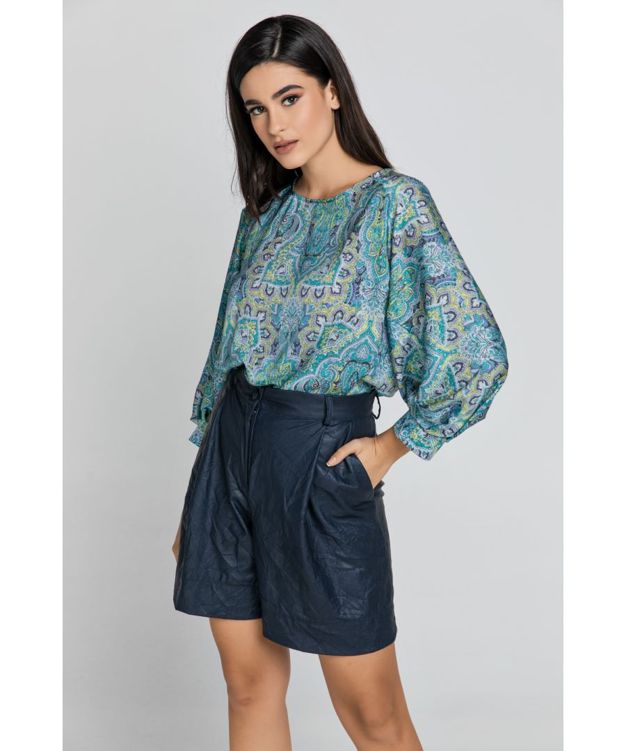 Image for Blue Faux Leather Bermuda Shorts