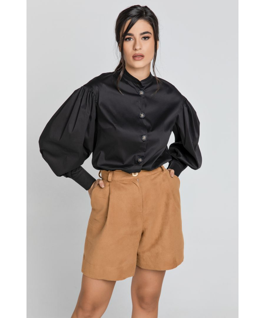 Image for Taupe Faux Leather Bermuda Shorts