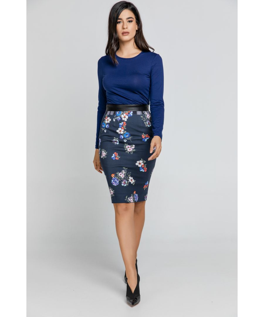 Image for Blue Patterned Pencil Skirt