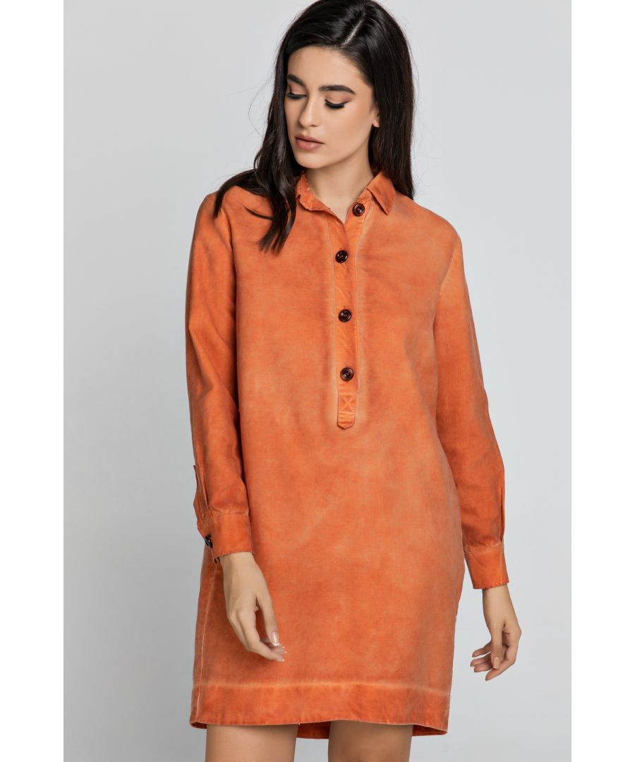 Image for Tencel Orange Shirt Dress