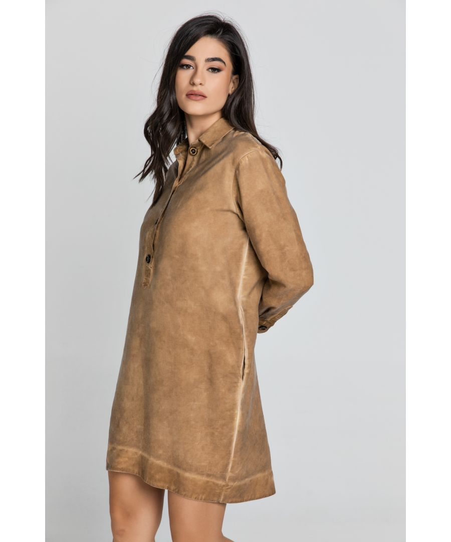 Image for Tencel Taupe Shirt Dress