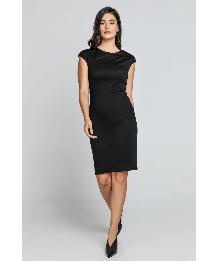 Image for Fitted Black Dress with Cap Sleeves by Conquista Fashion