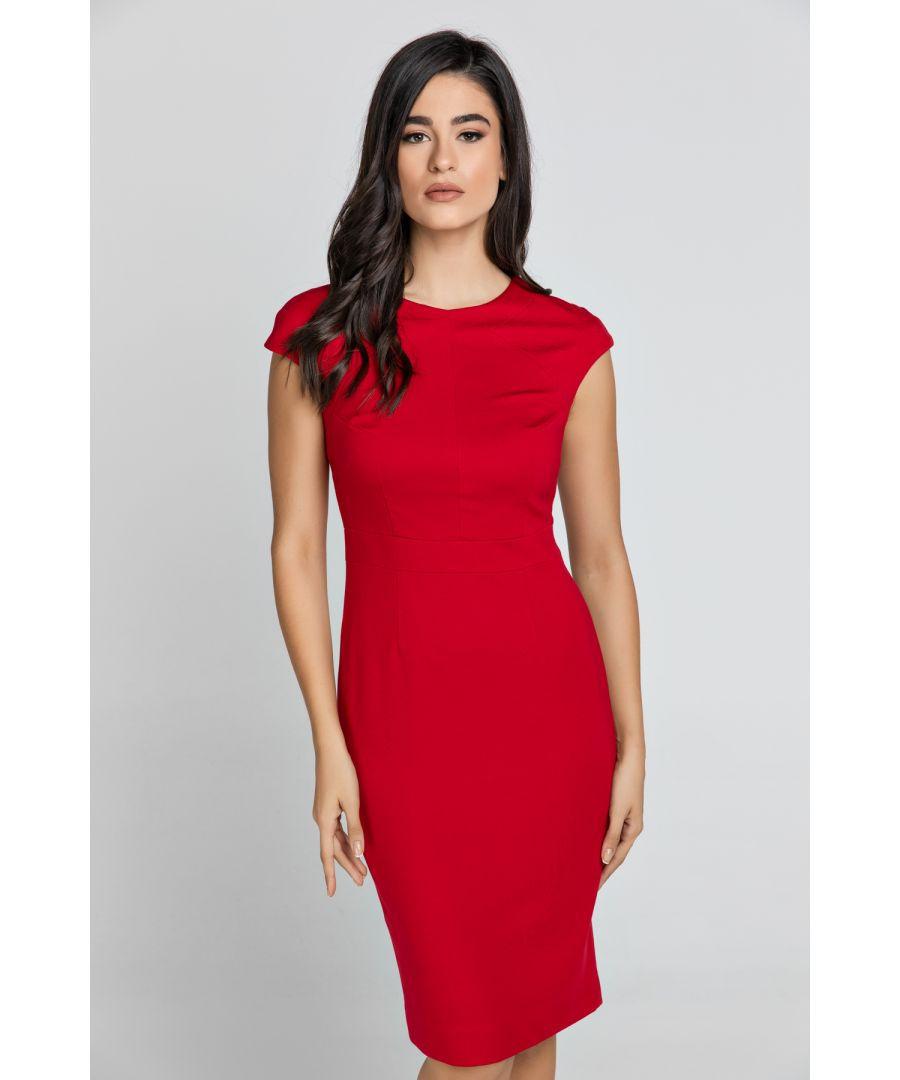 Image for Fitted Red Dress with Cap Sleeves