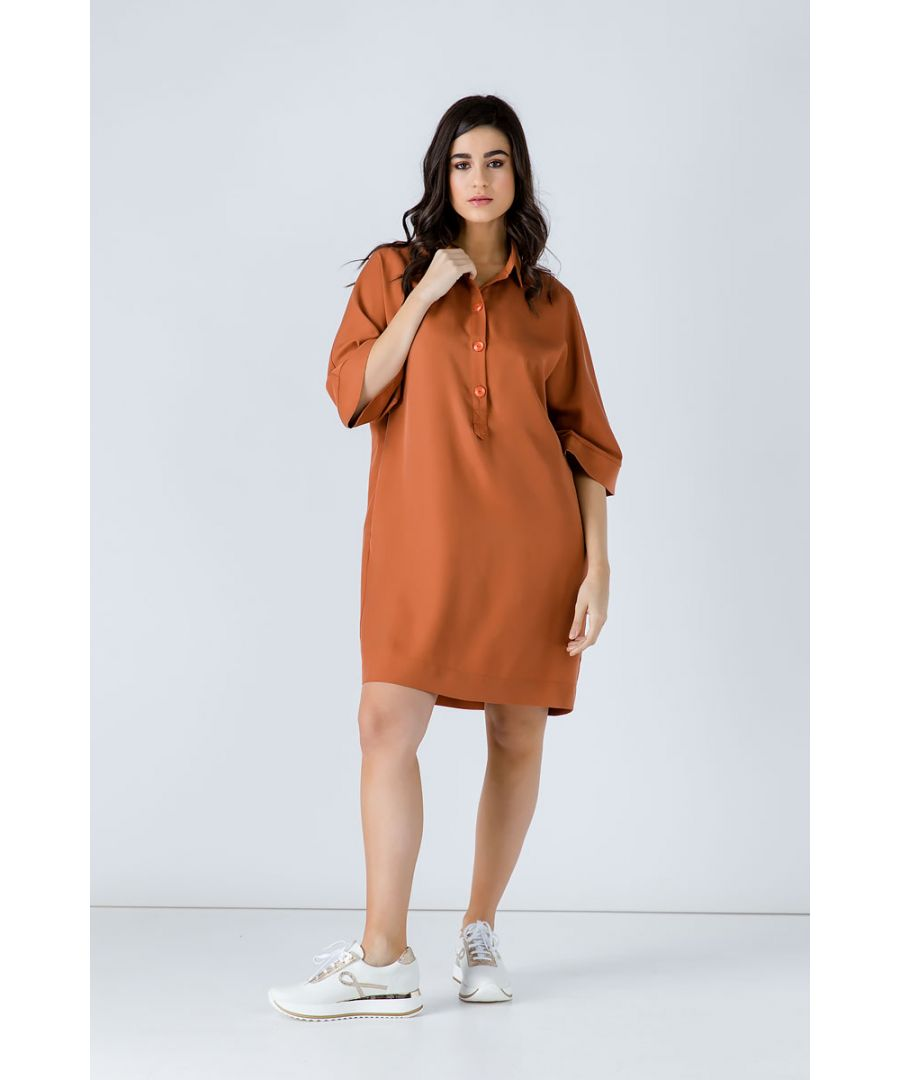 Image for Oversized Rust Tencel Dress