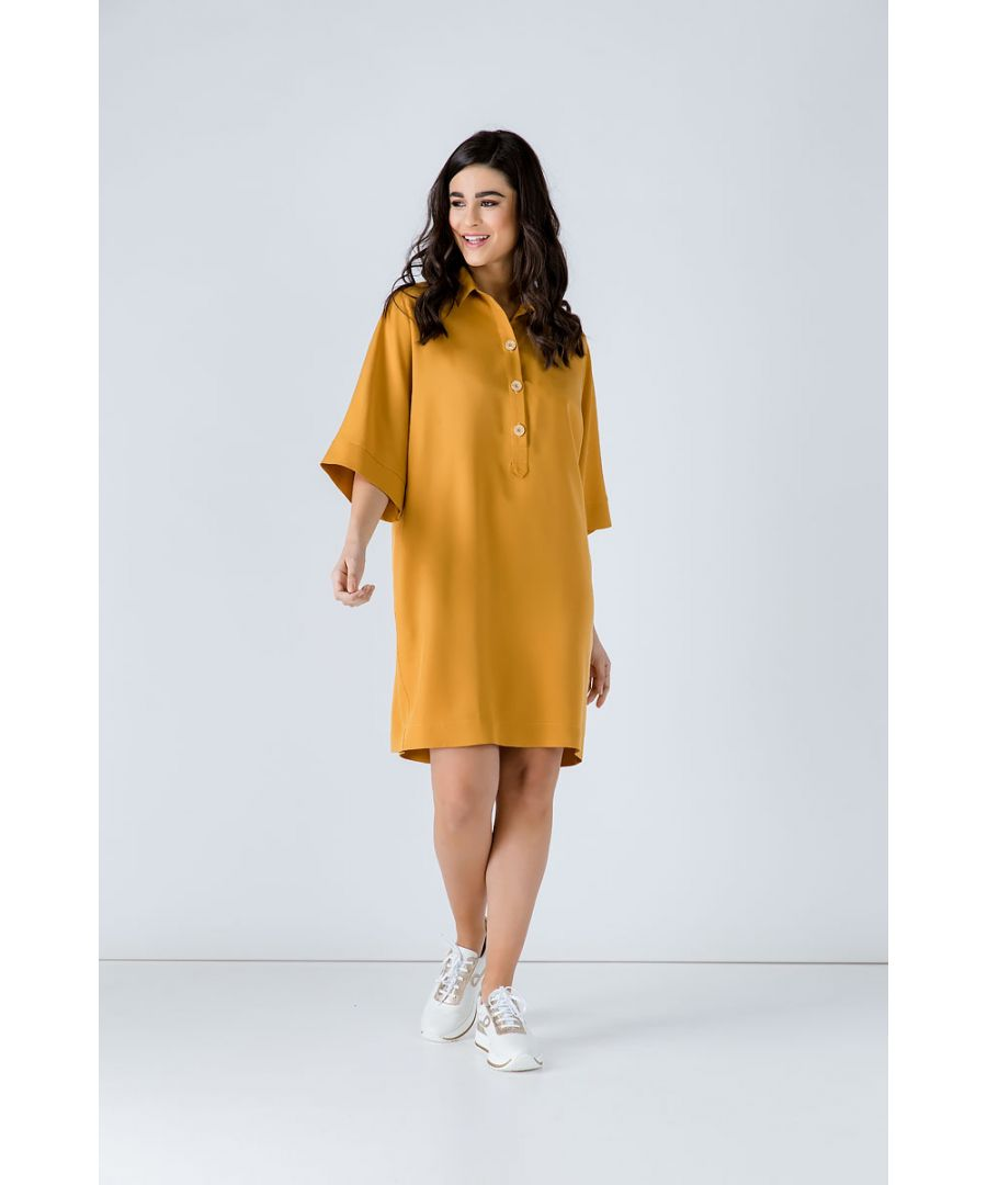 Image for Oversized Mustard Tencel Dress