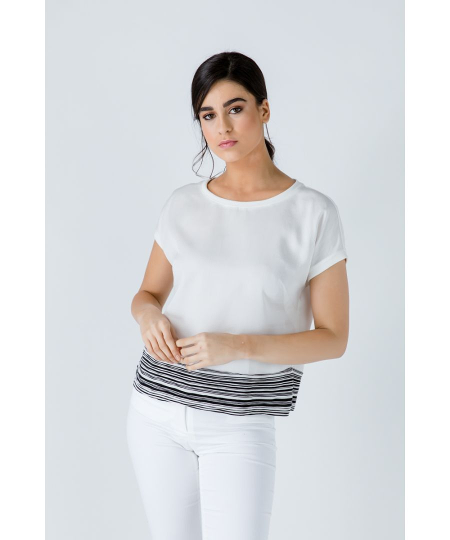 Image for Black and White Stripe Detail Top