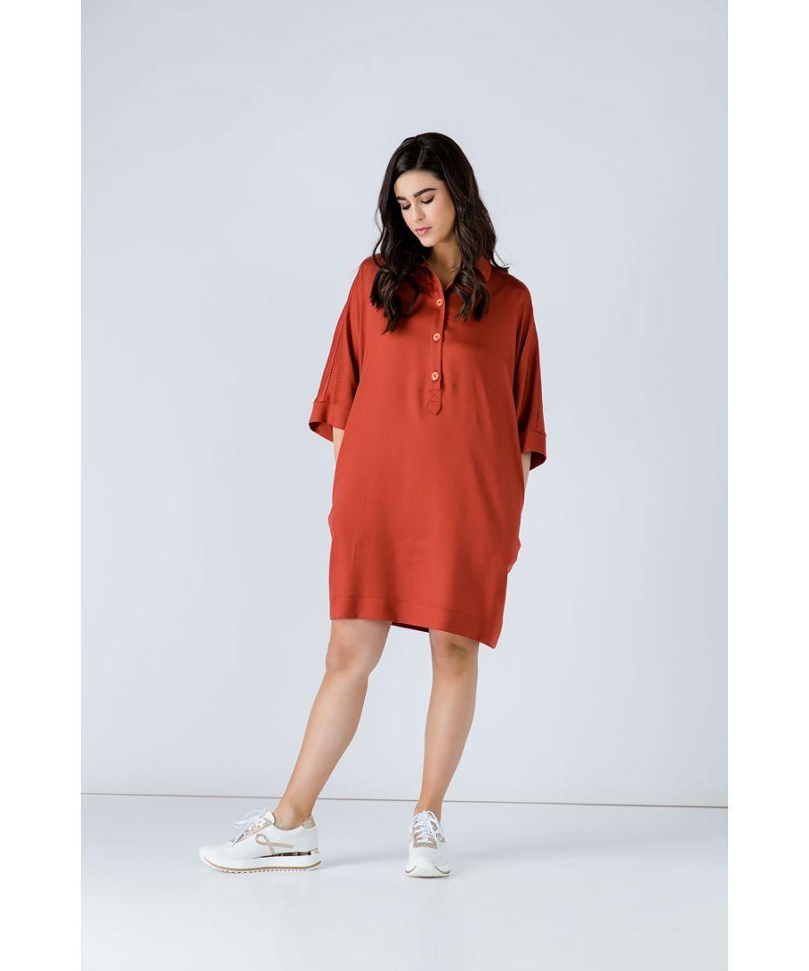 Image for Brick Colour Oversized Linen Dress