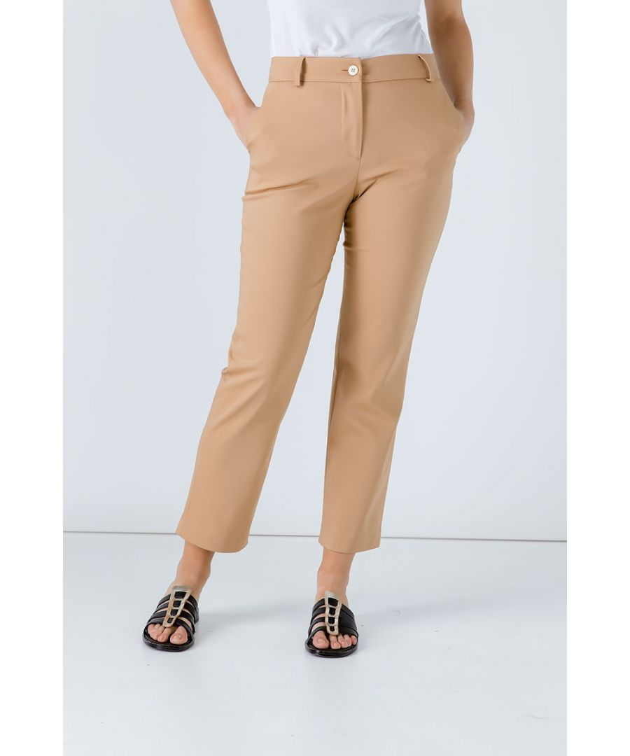 Image for Biscuit Colour Fitted Stretch Pants