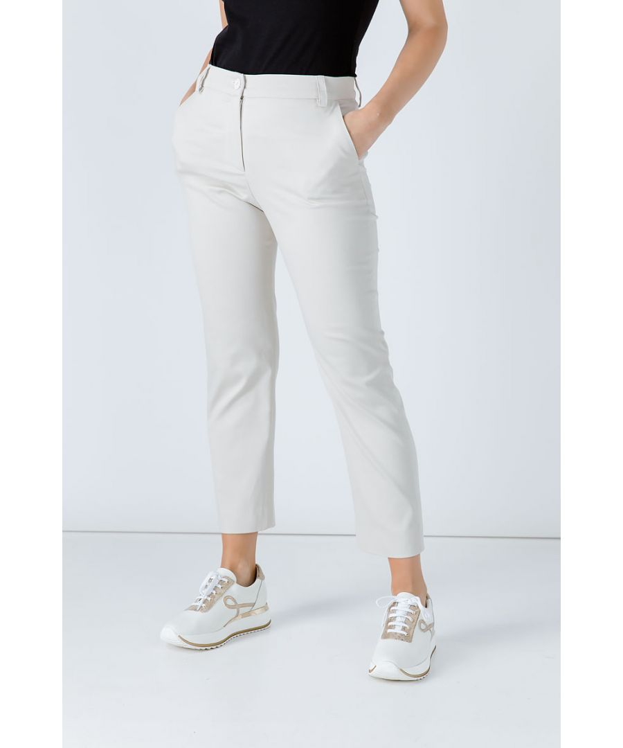 Image for Sand Colour Fitted Stretch Pants