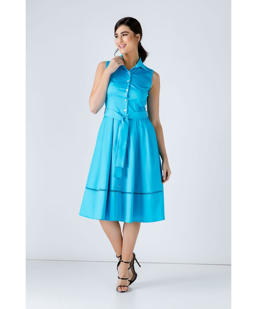 Image for Turquoise Button Detail  Dress