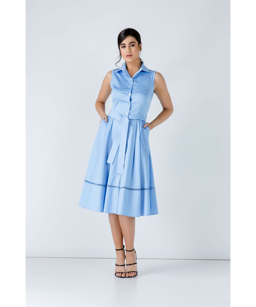 Image for Light Blue Button Detail Dress