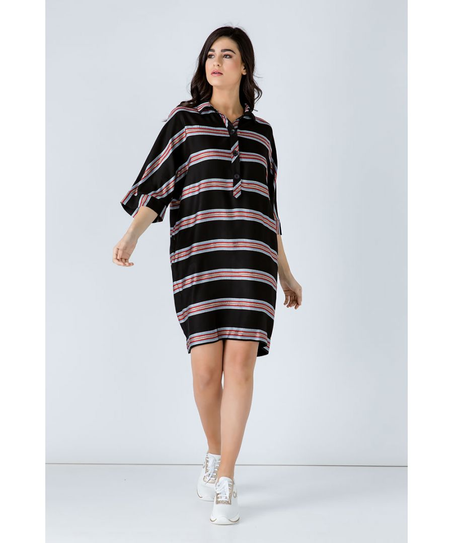 Image for Oversized Striped Dress with Elbow Sleeves