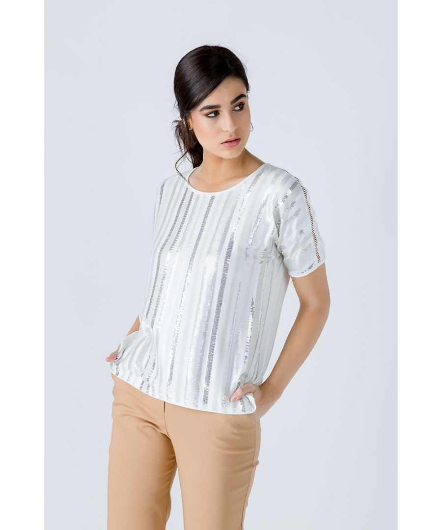 Image for Ecru Short Sleeve Sequin Top