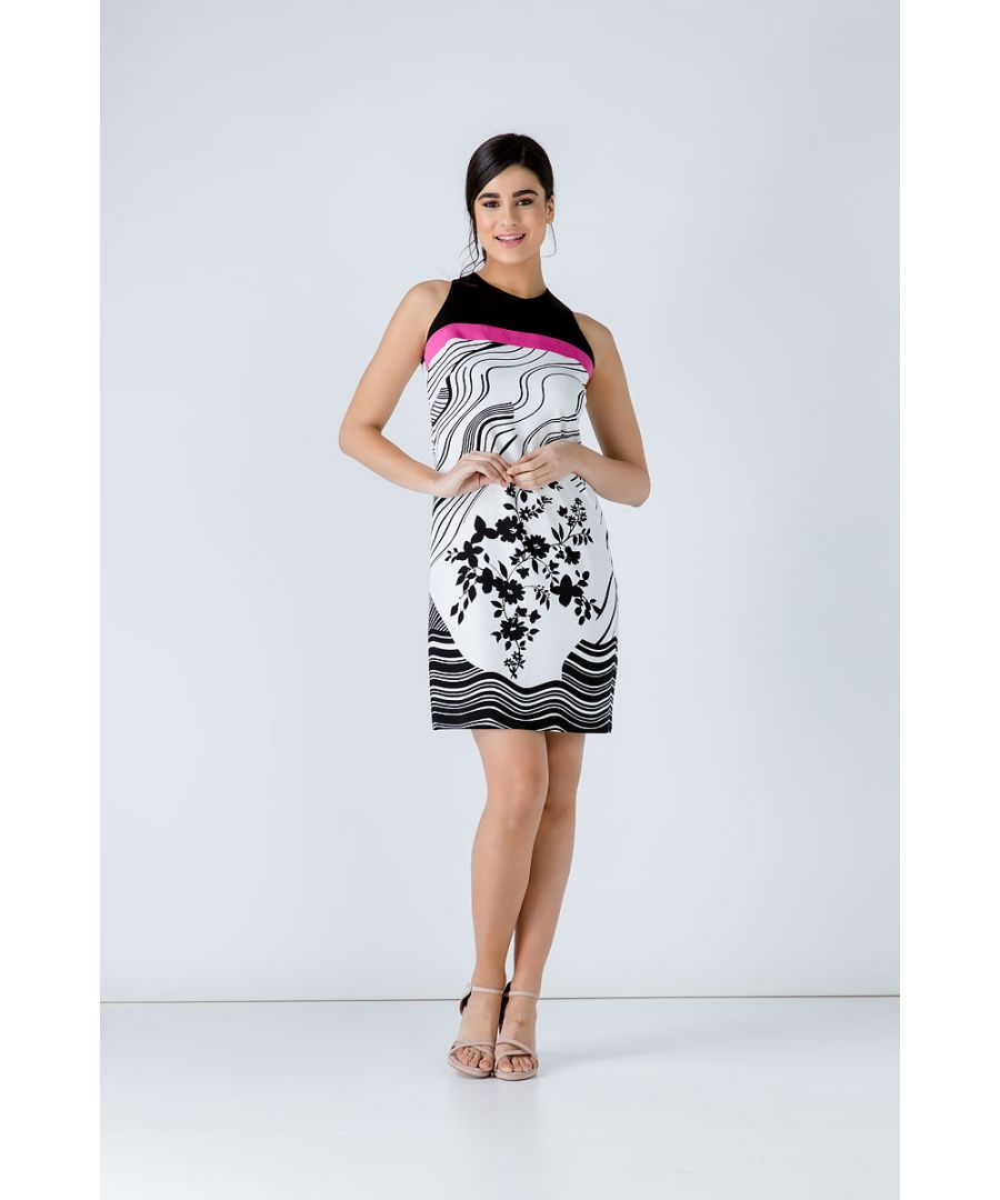 Image for A Line Black Print Dress