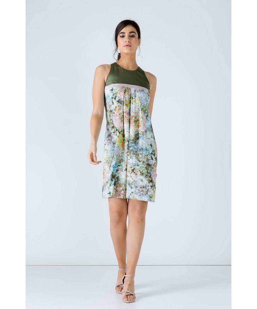 Image for A Line Khaki Floral Dress