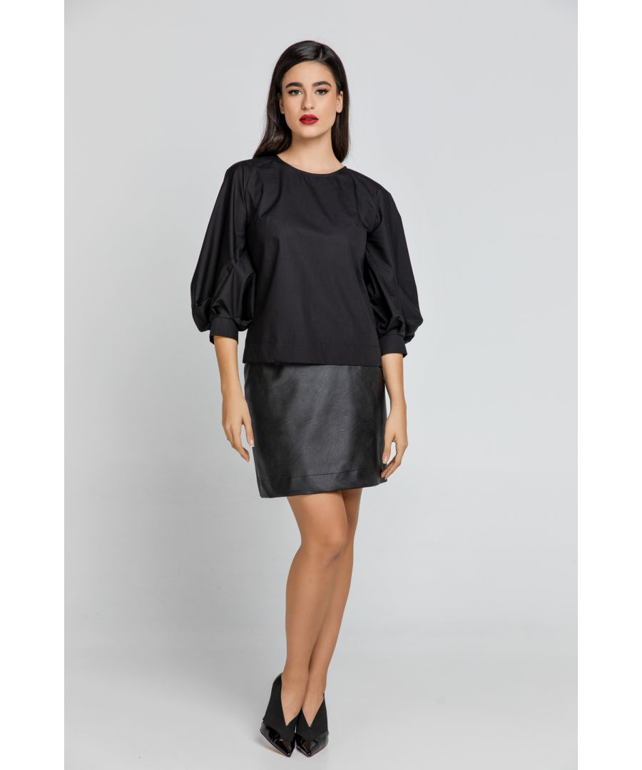 Image for Black Top with Bishop Sleeves
