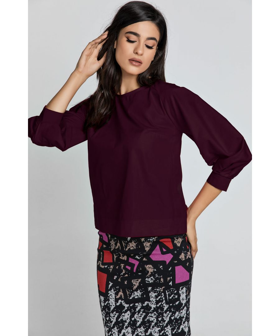 Image for Wine Color Top with Bishop Sleeves by Conquista