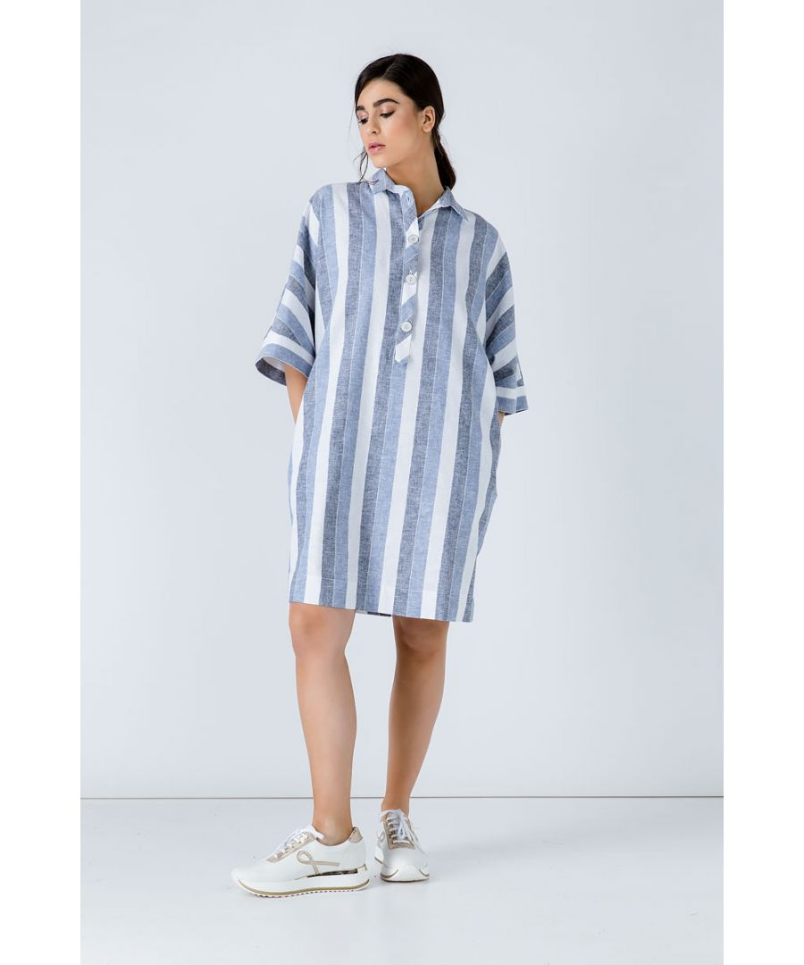 Image for Oversized Striped Linen Dress