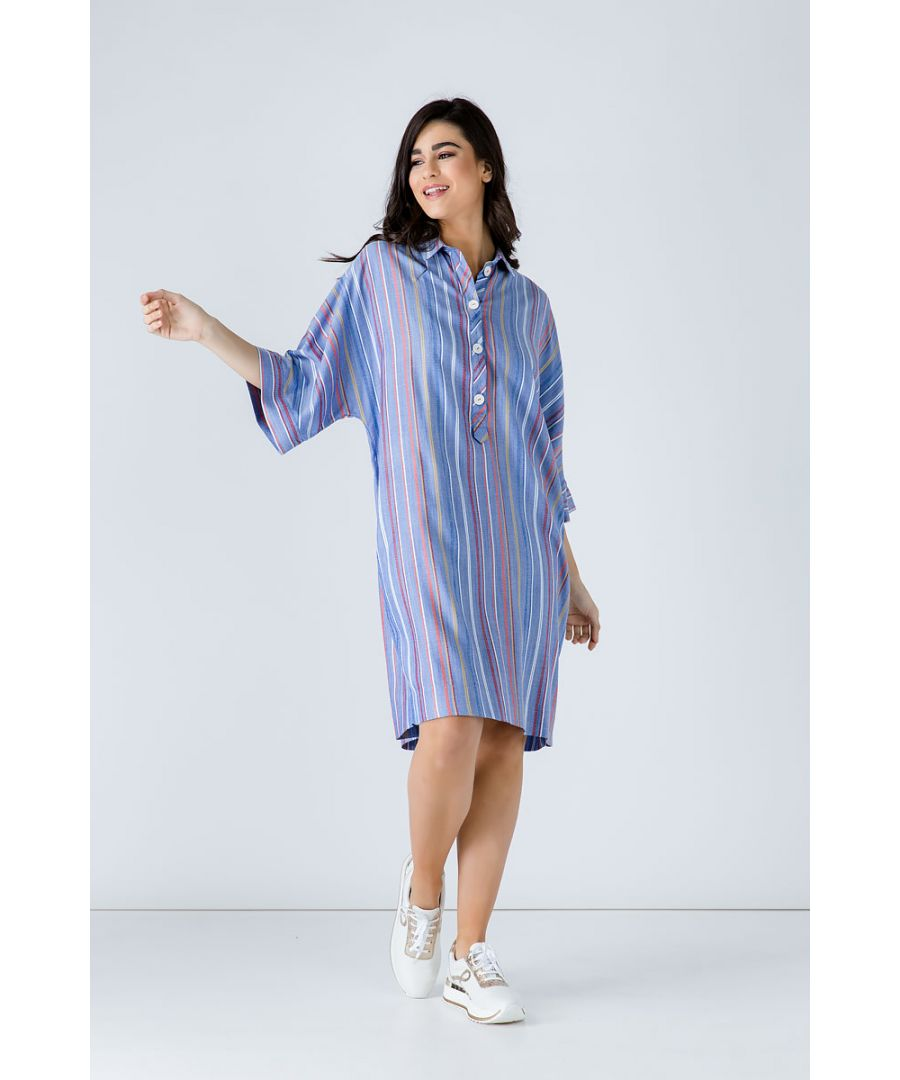 Image for Oversized Striped Viscose Dress