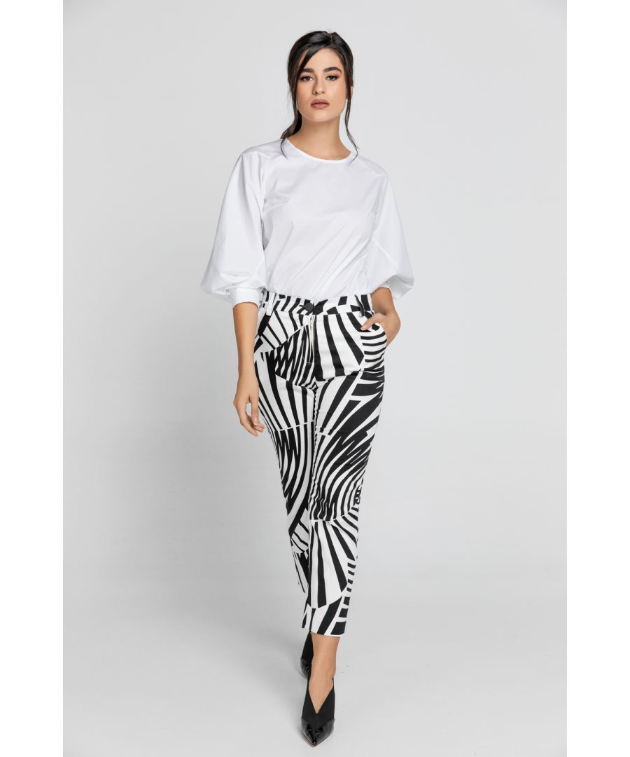 Image for Black & White Gabardine Pants