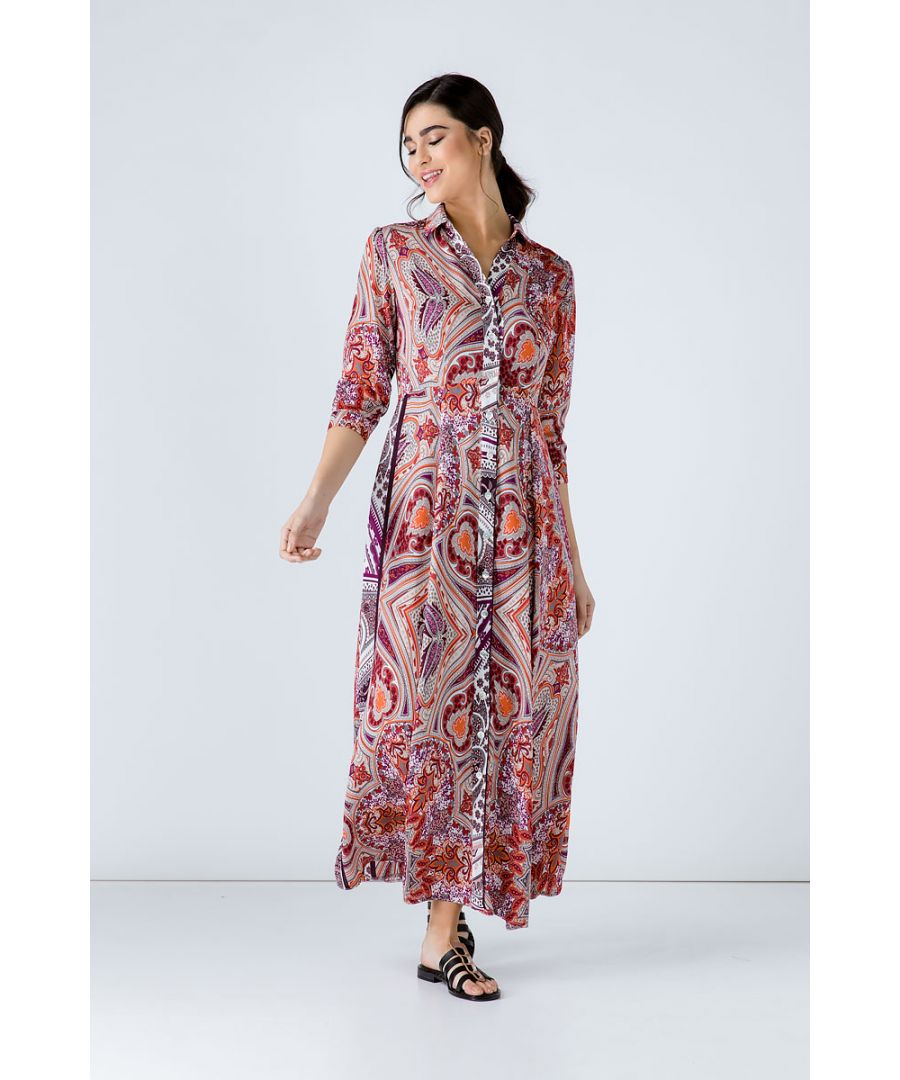 Image for Print Maxi Dress with Buttons
