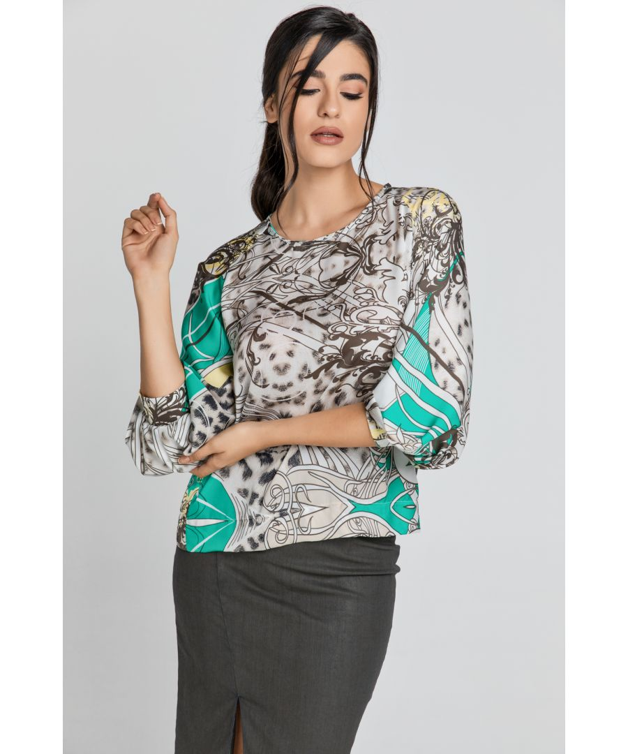 Image for Print Top with Bishop Sleeves